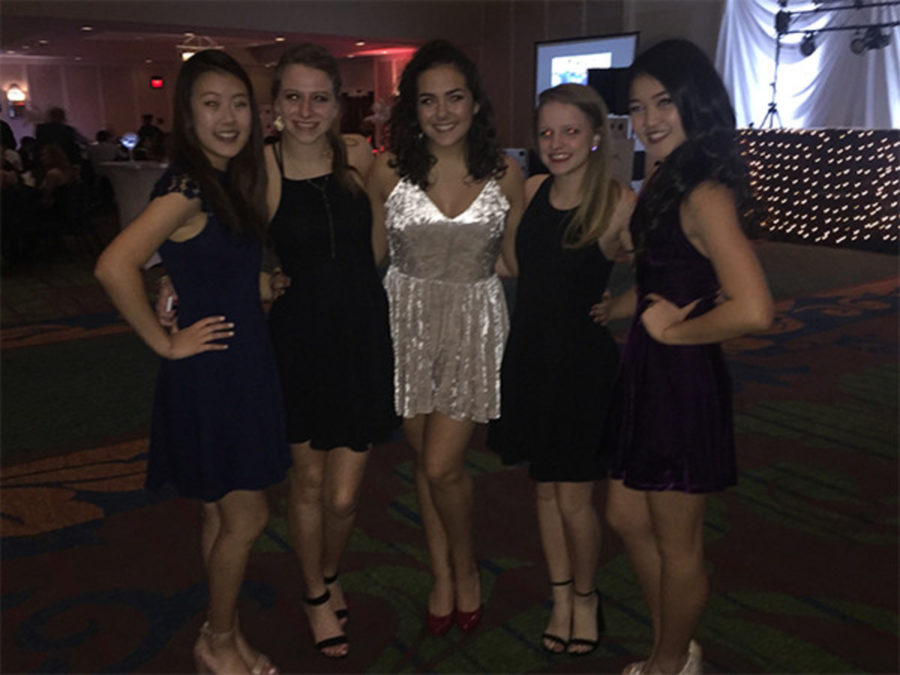 Yoon Cho, Lindsey Bravard, Josie Geoghegan, Kendall Harberson, Kyoko Hamagata at homecoming together.