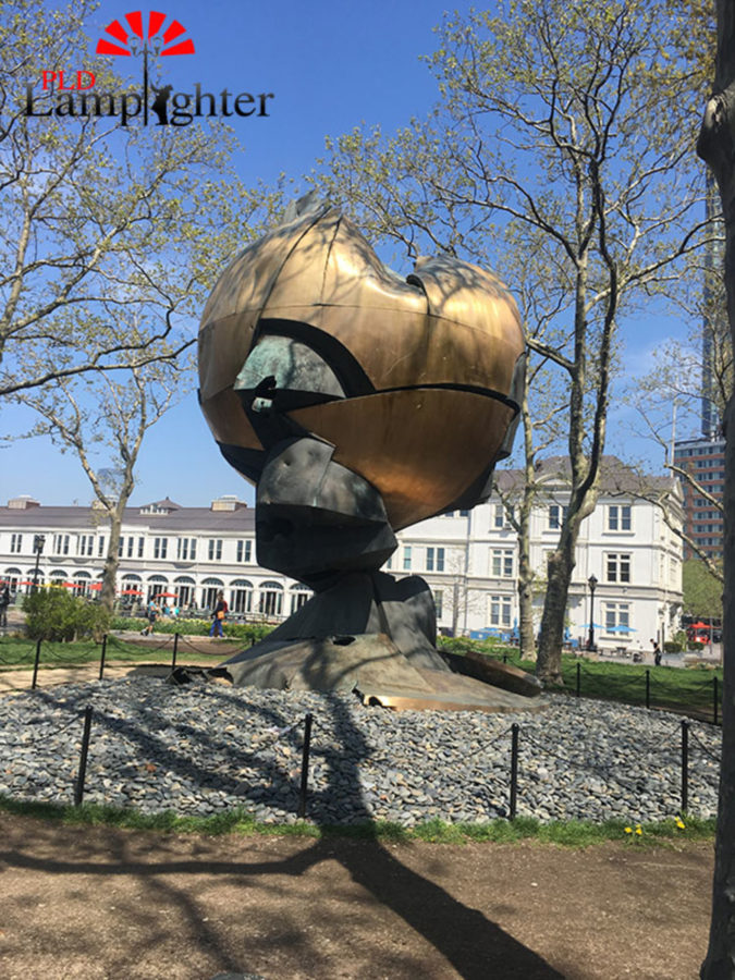 This sculpture is the Sphere and is located in Battery Park.