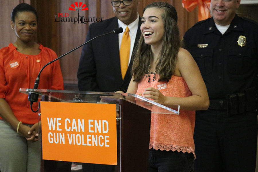 Dunbar student voice team member Jenna McCauley speaking from a students perspective to rally support for the anti-gun violence cause.