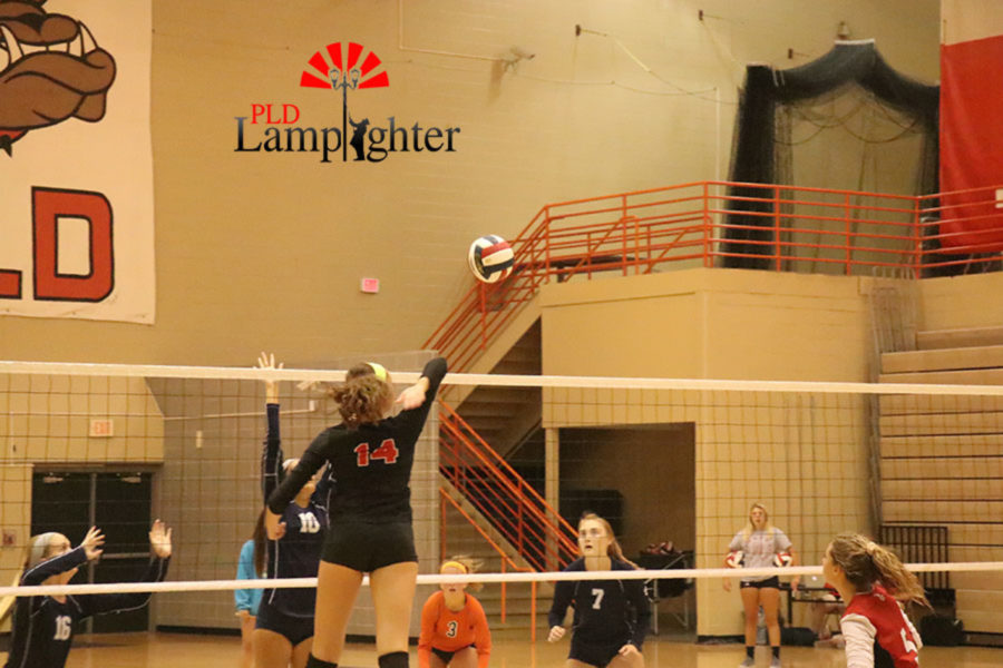 Sophomore Eleanor Davis (9) gets a kill out of the middle for the Bulldogs.