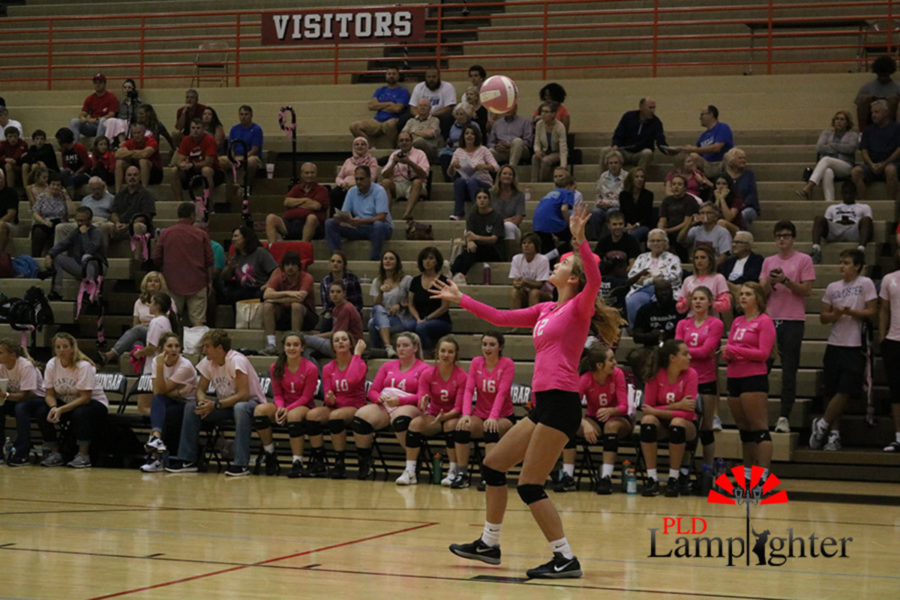 #12 Junior, Meredith Phillips serves the ball to put pressure on the opposing team.