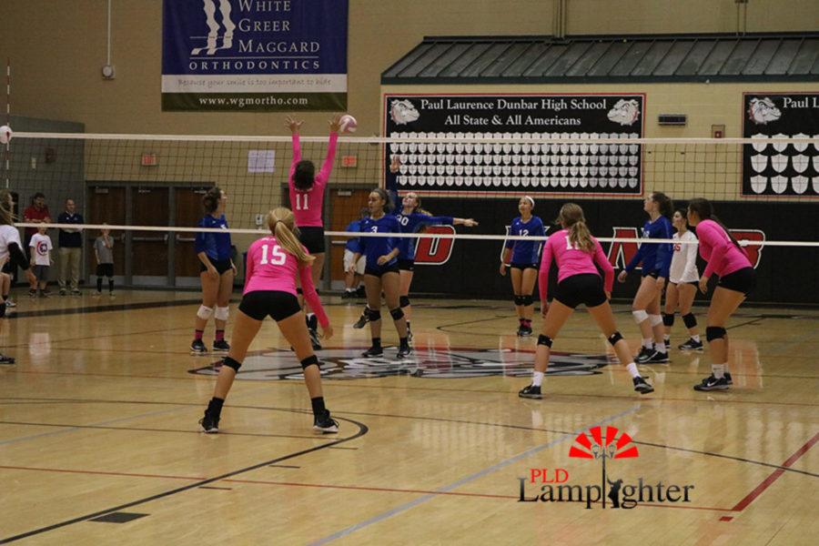 #11 Senior, Savannah Dudek puts up a big block at the net while the back row anticipates the ball.