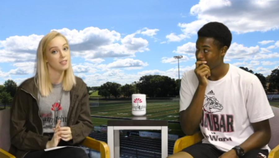 Lamplighter's SAOTW host, senior LeAnna Williams, interviews senior Darren Edmonds.