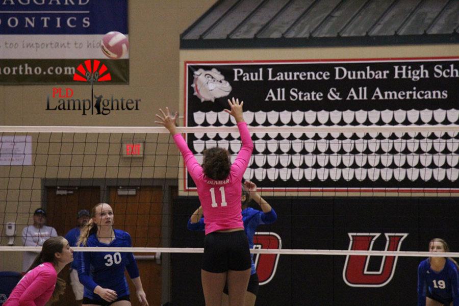 #11 Senior Savannah Dudek jumps up in an attempt to black the ball.