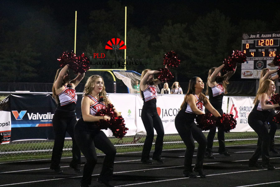 Dance team members perform their routine for the crowd