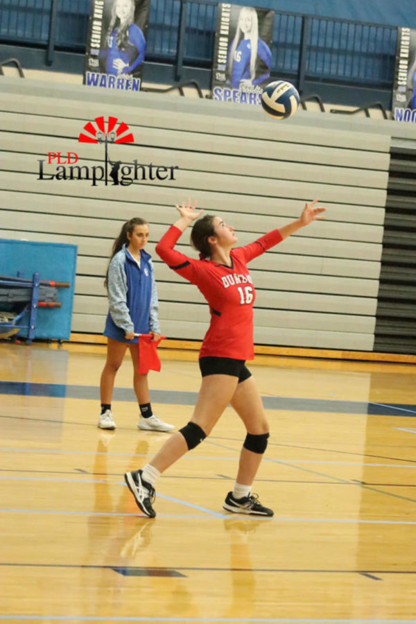 #16 Hannah Tucker gets in the game to get aces for Dunbar.