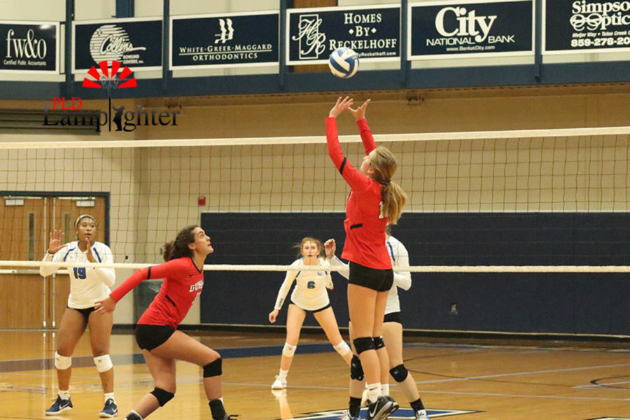 Junior Meredith Phillips sets the ball to Senior Savannah Dudek to attack for a kill.