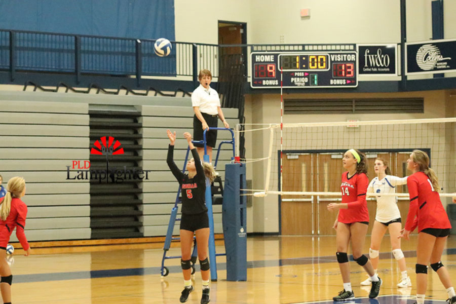 Allie Chapman puts up a second ball for the outside hitter to attack.