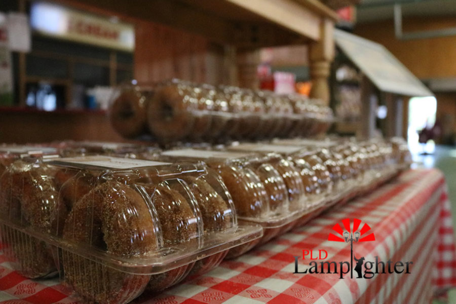 Apple cider donuts made fresh at the orchard, now for sale in the market.