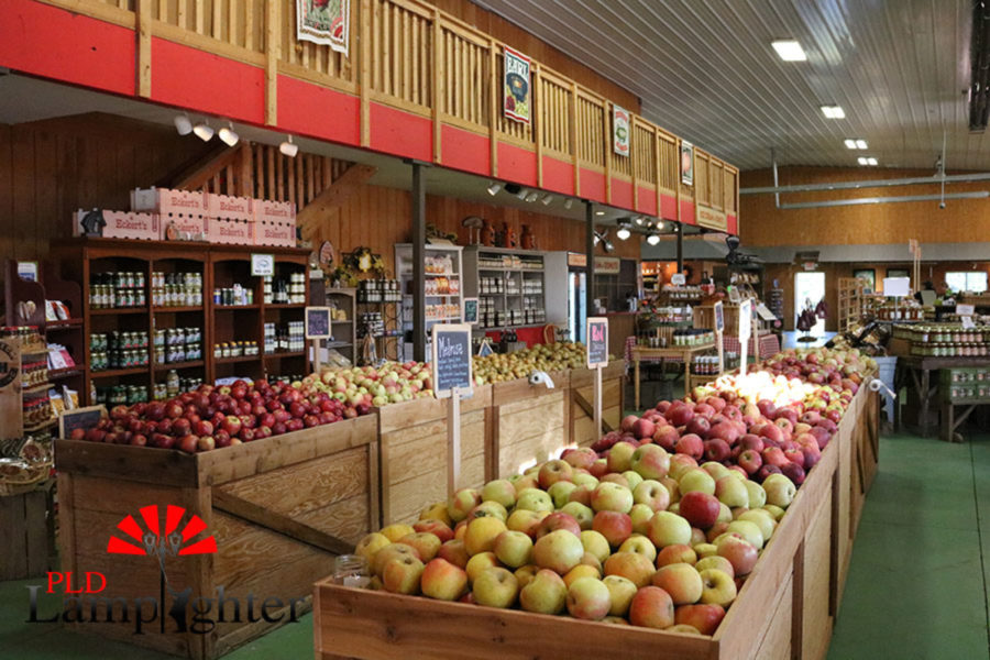 The market place is filled with produce that can be purchased and is grown at the orchard.