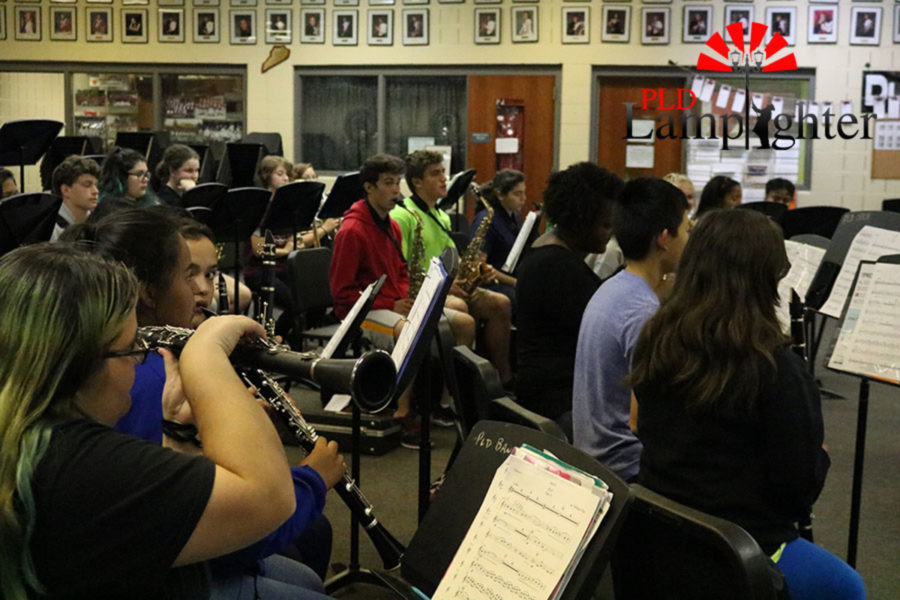 The students working on their music.