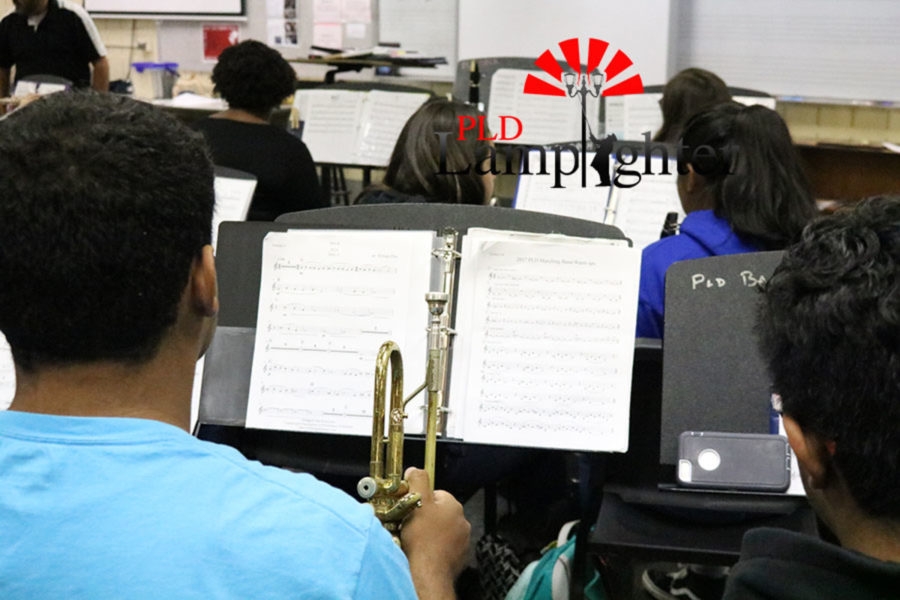 The students are studying their music sheets.