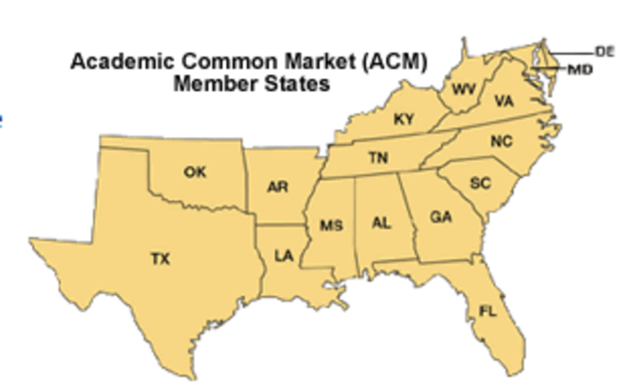 Some schools participate in the Academic Common Market, which allows students to study outside their home state while paying in-state tuition.