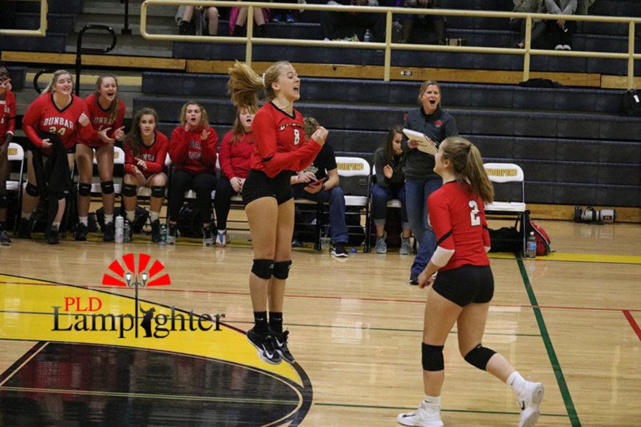 Sophomores #8 Olivia Stotz and #2 Lauren Spanyer celebrate after scoring.