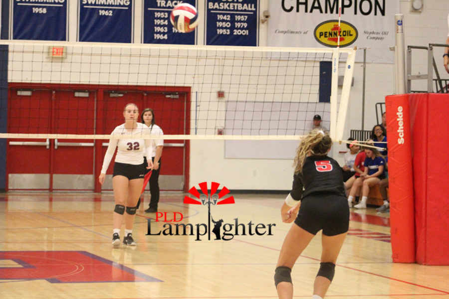 #5 Senior Allie Chapman sets to hit the ball.