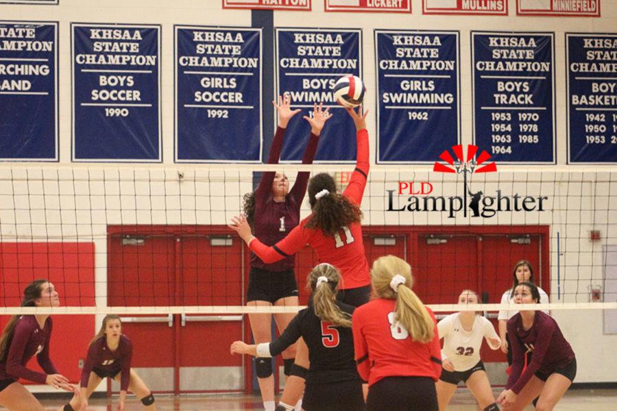 #11 Senior Savannah Dudek intercepts the ball from Lafayette.
