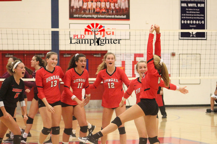 #8 Sophomore Olivia Stotz makes a kill from the back row to push the team ahead in an intense fifth set.
