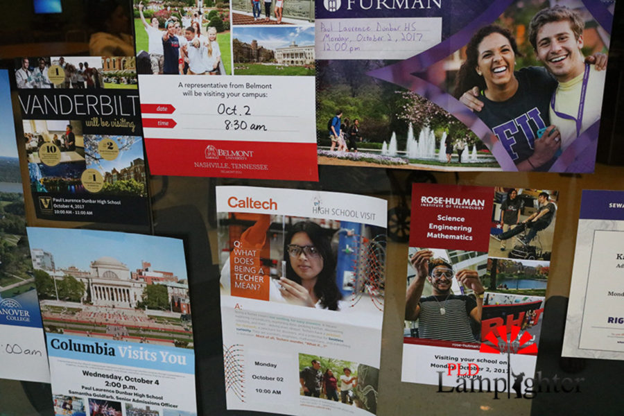 College posters in the College and Career Center.
