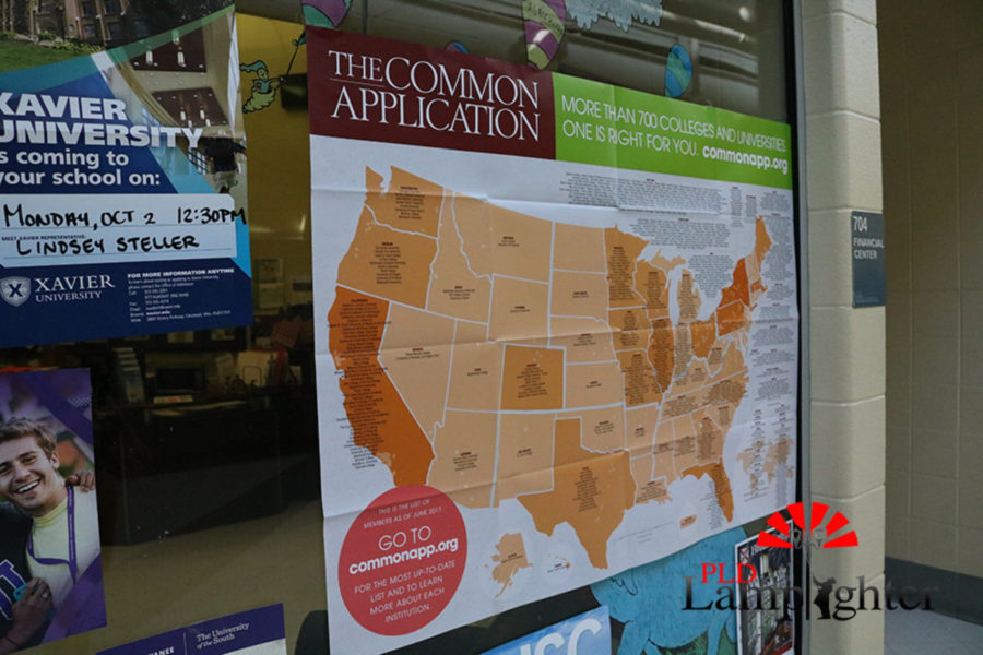 Poster of Common Application map in front of the College and Career center.