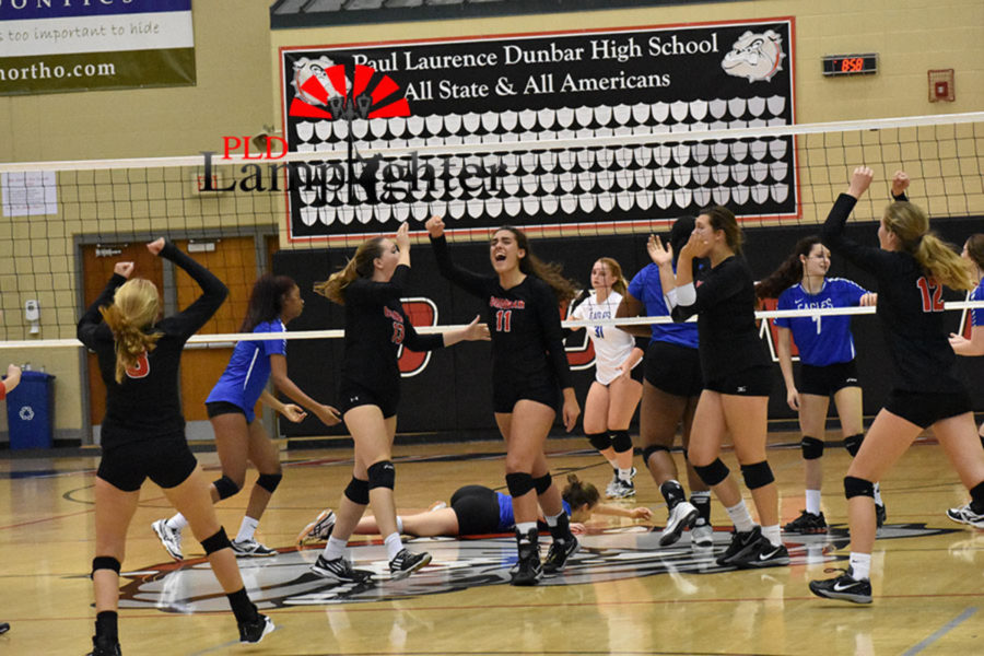 The bulldogs celebrate after scoring a great point.