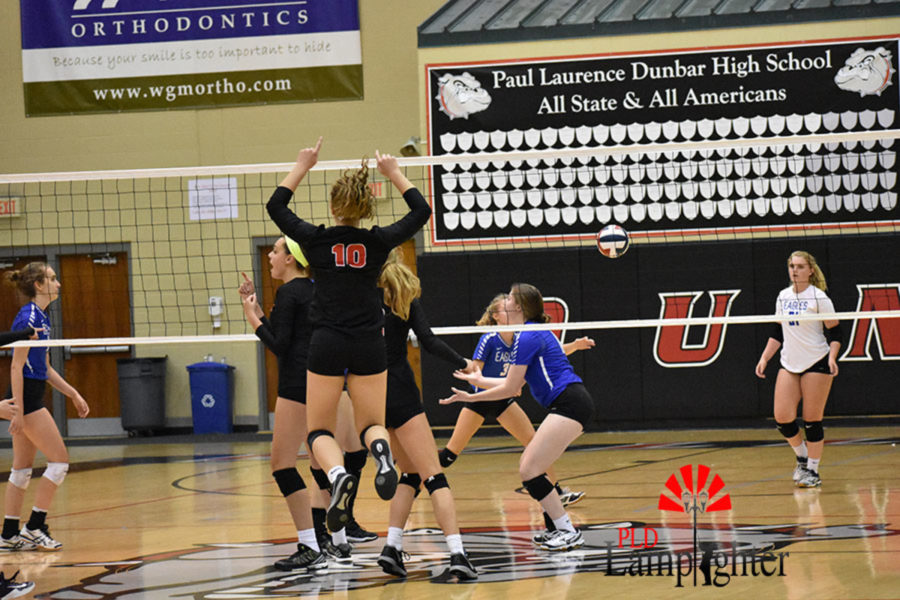 #10 Sophomore Jane Durbin jumps for joy after a great play made by Dunbar.