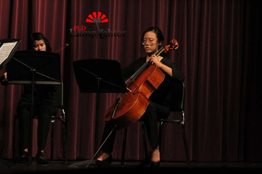 The cello being played by Jin Cho and the violin played by Stephanie Yang.