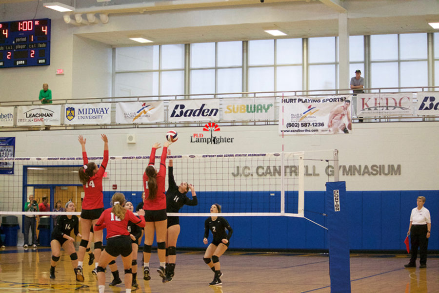 #19 Sophomore Peyton Gash and #14 Sophomore Eleanor Davis go up for a block against opposing hitter.