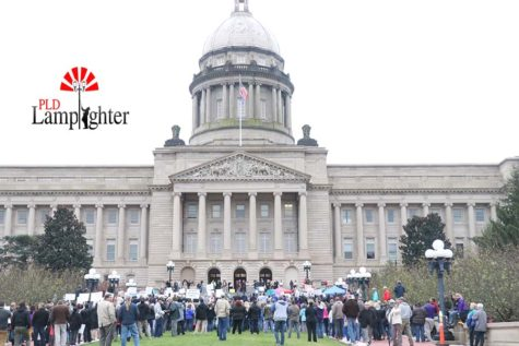 People gather at a Nov. 1 rally held at the state capital in Frankfort.