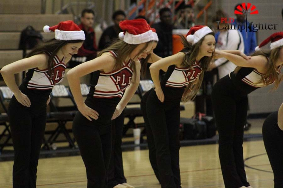 The dance team performing their Christmas themed routine during halftime.