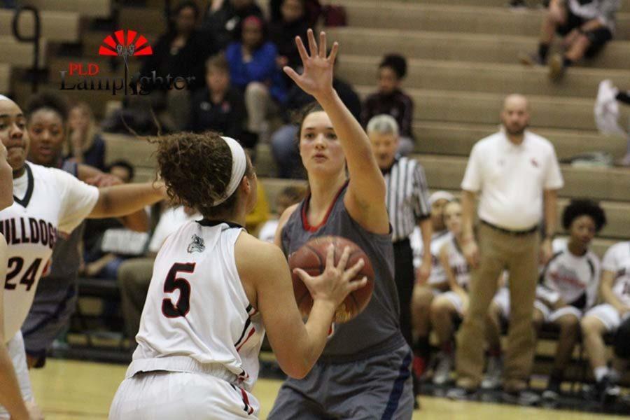 #5 Freshmen Elise Ellison-Coons going up for a shot.