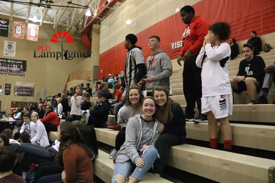 The PLD Student Section Cheering on the girls basketball game.