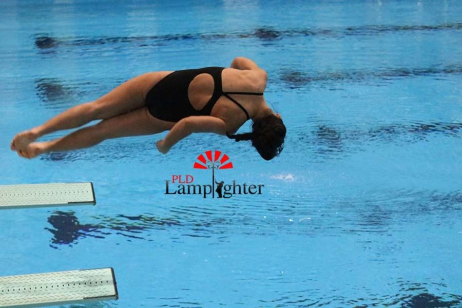 Freshman Alexis Radhakrishnan begins her back twister dive.