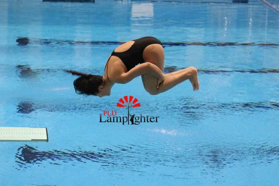 Freshman Alexis Radhakrishnan performs a back double somersault tuck, with a degree of difficulty of 2.2.