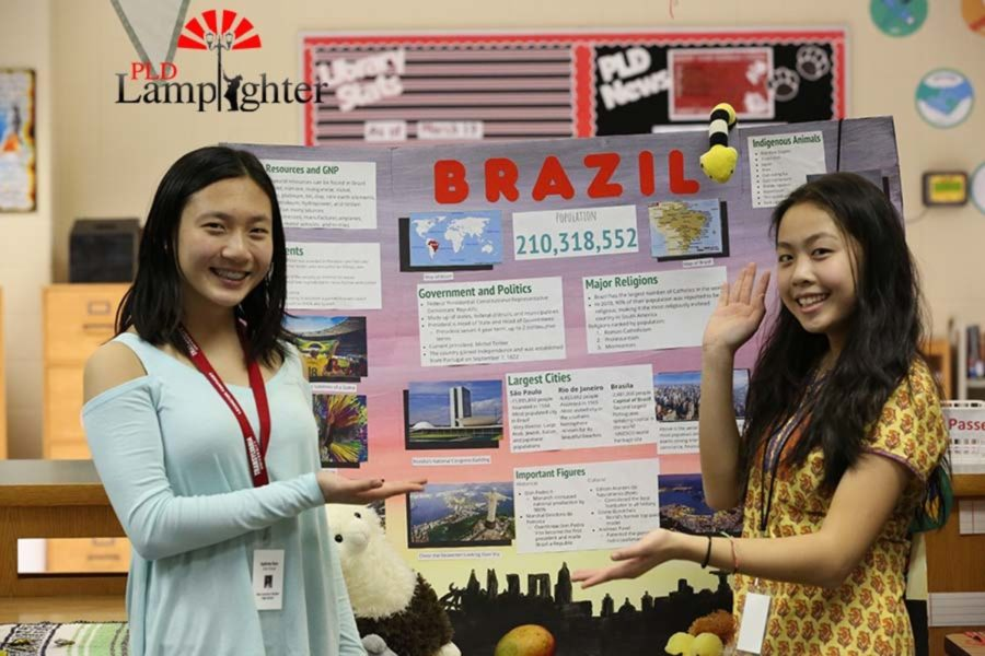 Sophomores Sydney Sun and Angie Xiao present the country of Brazil.