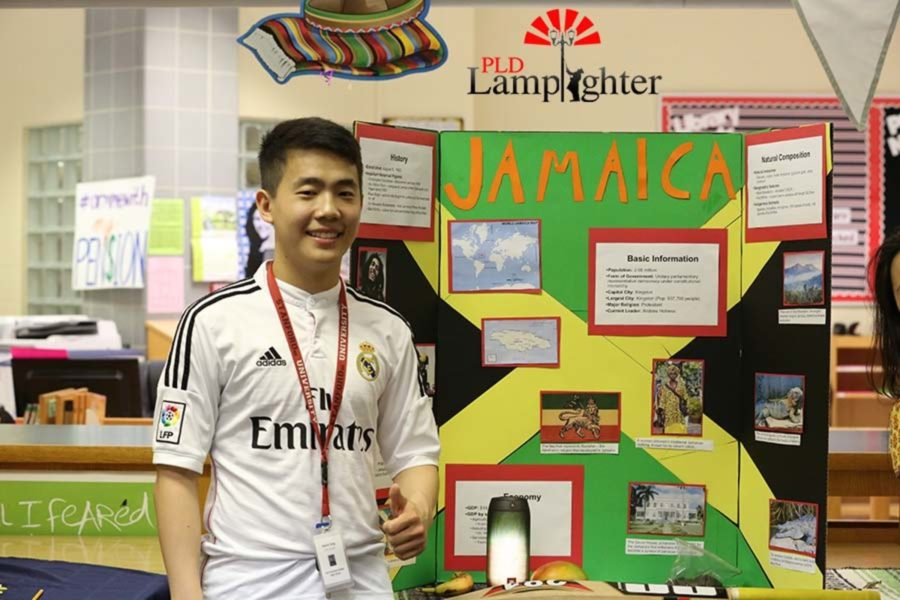 Junior Kevin Jing presents the country of Jamaica.