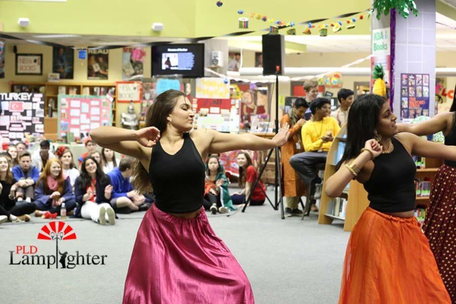 Senior Julia Radhakrishnan strikes a pose during the Tollywood dance performance.