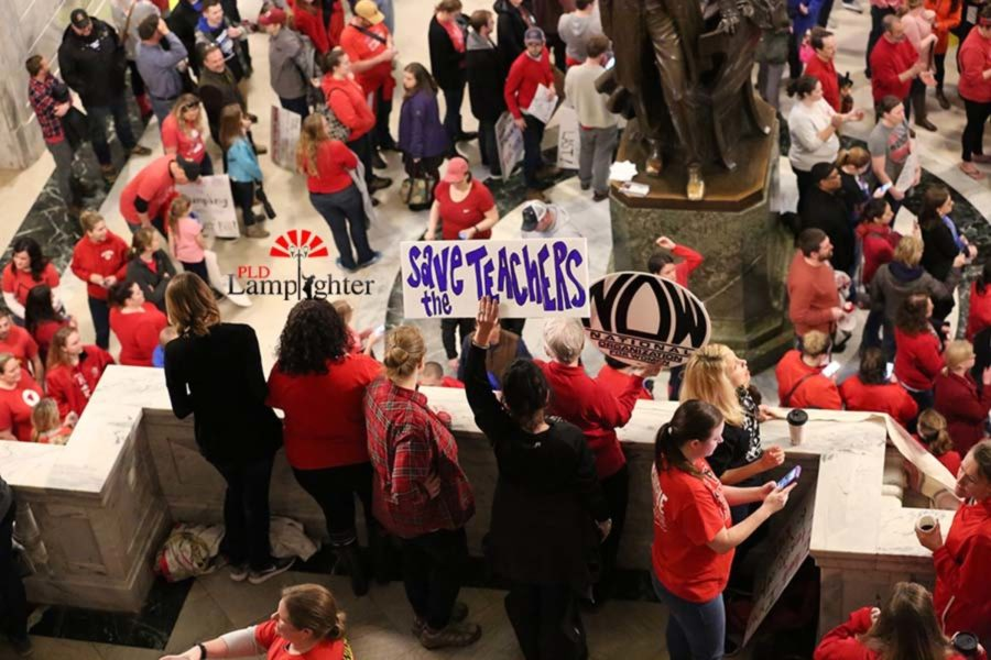 Teachers gathering in the capital to protest.