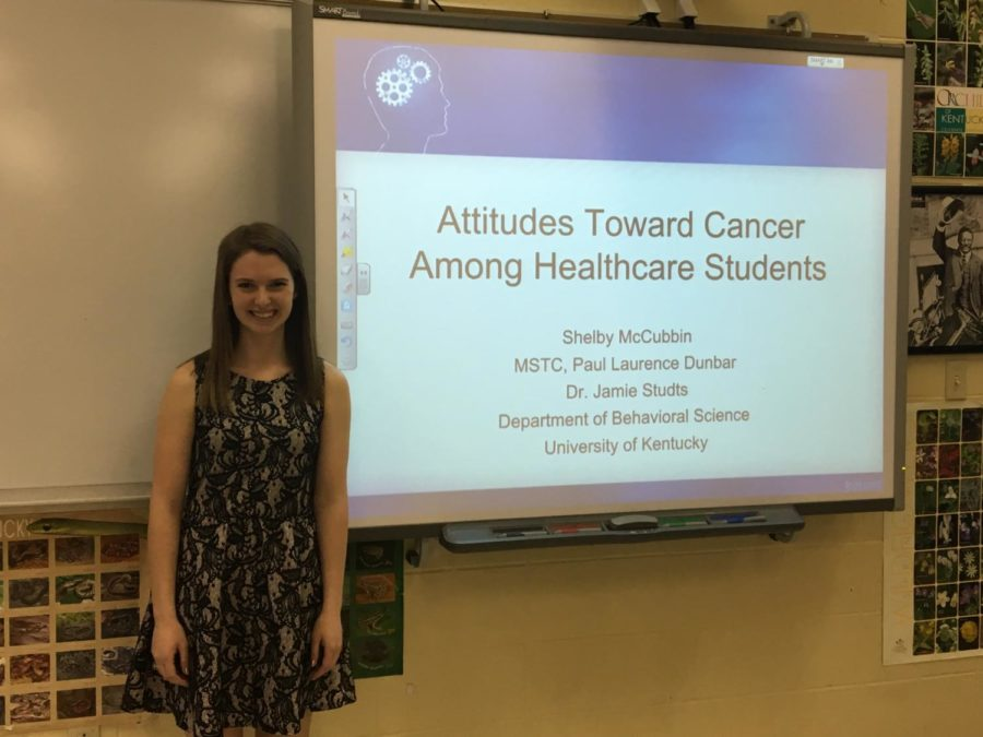 Senior Shelby McCubbin researched stigma towards smoking and non-smoking cancer patients among nursing students.