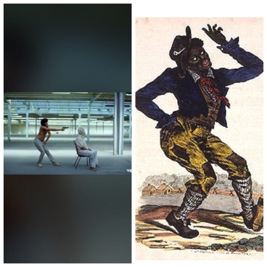Glover's stance at this point in the video is a clear reference to outdated Jim Crow drawings.