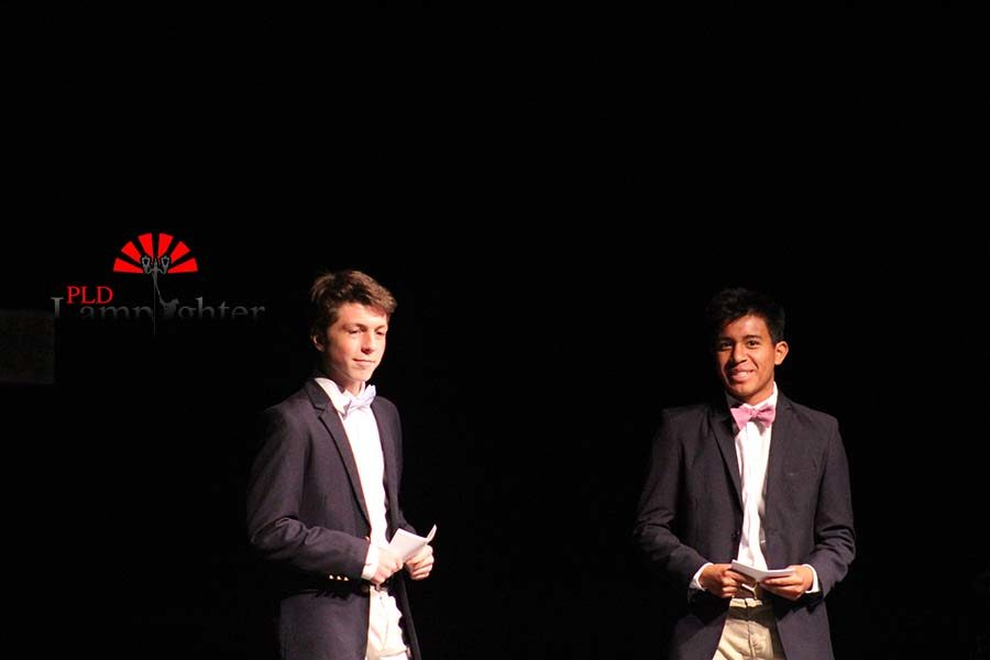 Sophomores Matthew Nichols and Clay Rains hosting the talent show.