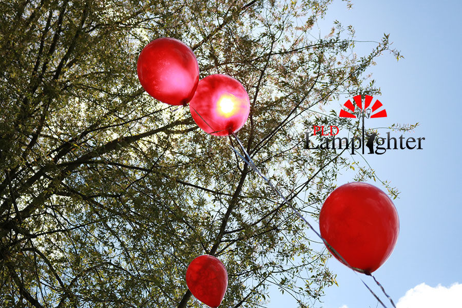 Students spent a lot of time blowing up hundreds of red balloons in honor of Star.