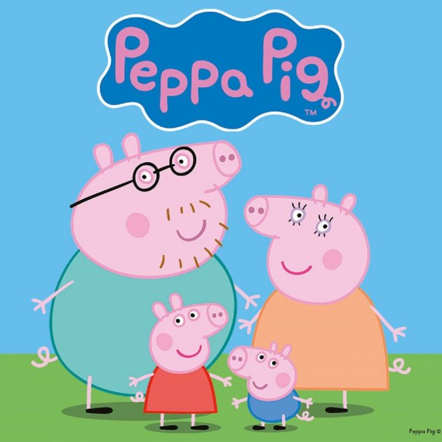 A still image of the Peppa Pig intro, showing Peppa and her family.