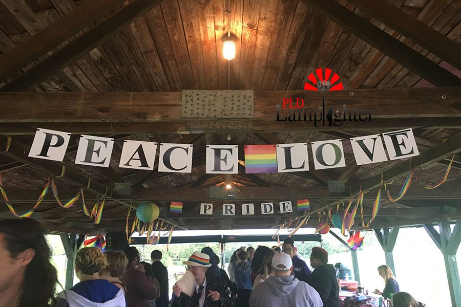 Peace and love being expressed at the GSA pride picnic.