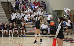 #8 Olivia Stotz showing off her serving skills against LCA.