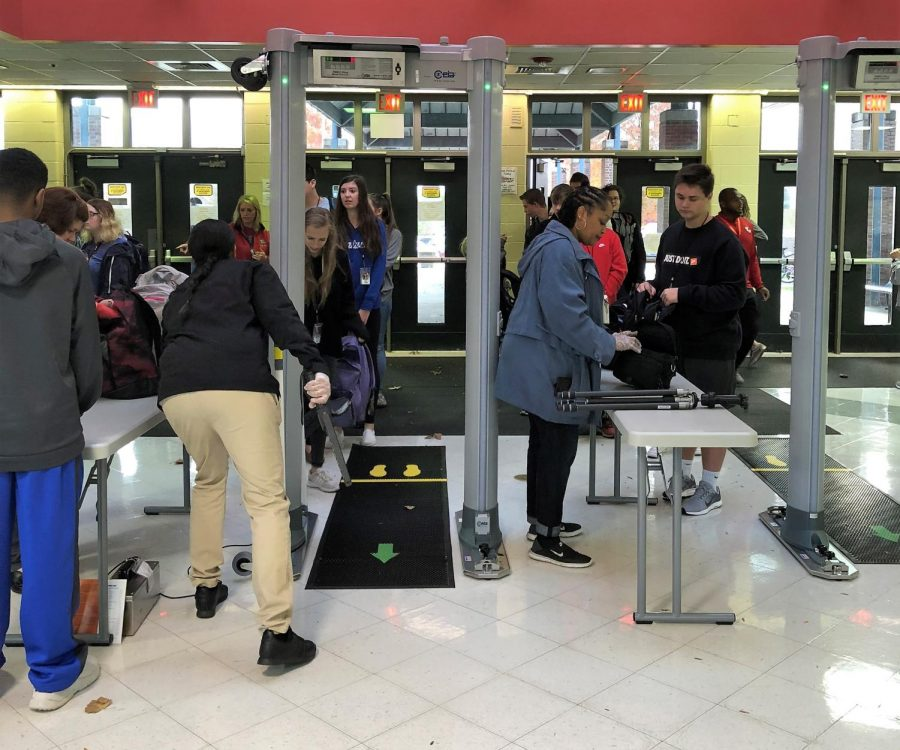Students have been learning the process of going through metal detectors.