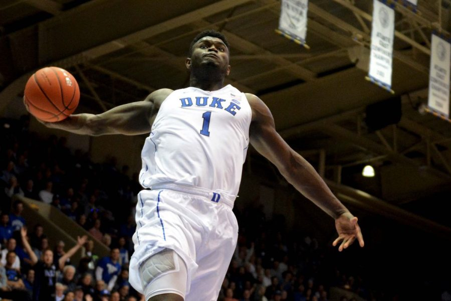 A picture of Zion Williamson dunking the ball