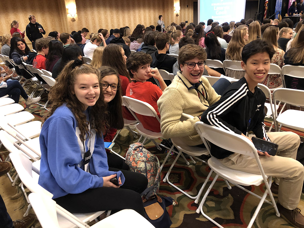(Left to right) Caroline Gosky, Caroline Jaeger, Zach Susini, and Max He.