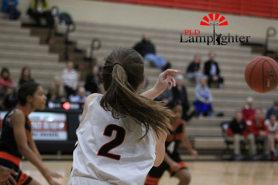 #2 Carley Hinshaw in bounds the ball after Fredrick Douglass turned over the ball.