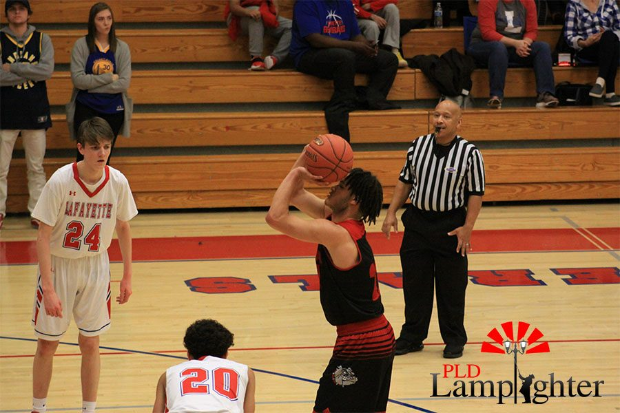 #22 Michael Corio takes free-throws after a foul on Lafayette.