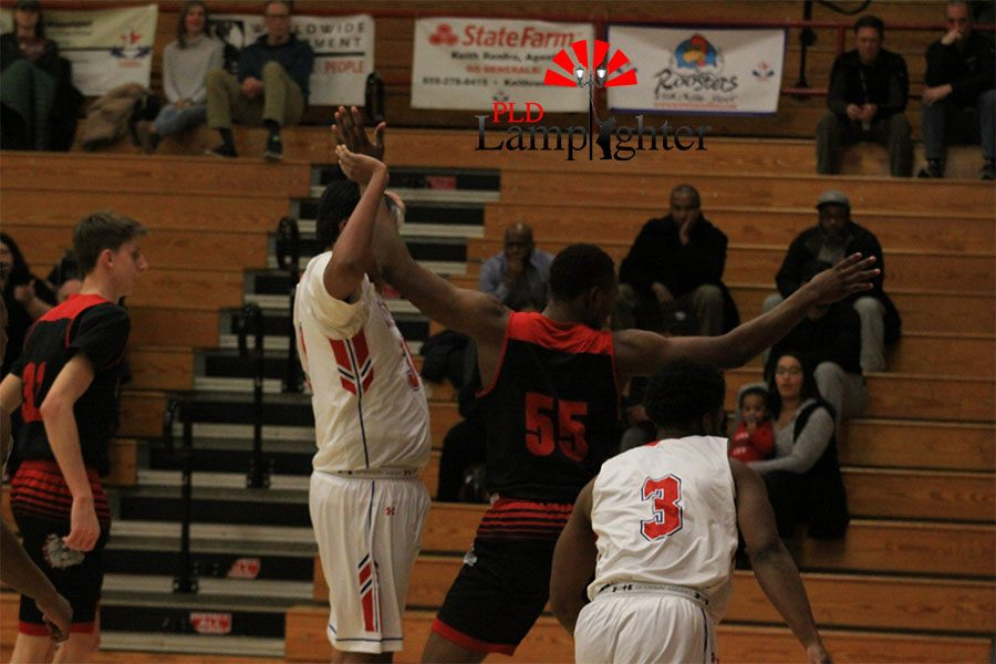 #55 Lionel Kumwimba gets tangled up with Lafayette defender which leads to a dead ball.